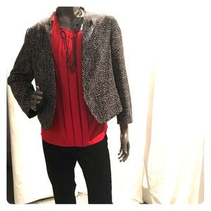 short sleeved red shell with blazer